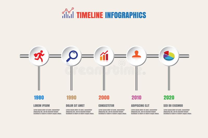 Modern business timeline infographic process template stock illustration