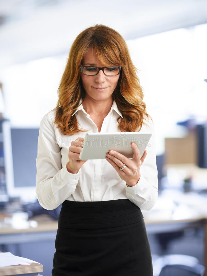 Download Modern Business Woman Holding Tablet Stock Image - Image of caucasian, occupation: 34442719