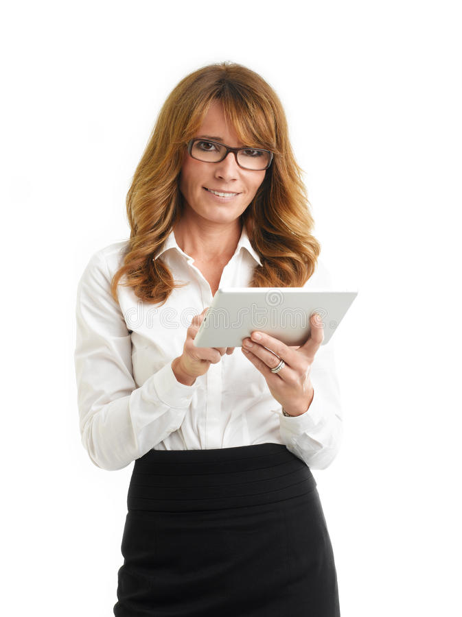 Modern Business Woman Holding Tablet. White Background. Royalty Free Stock Photos