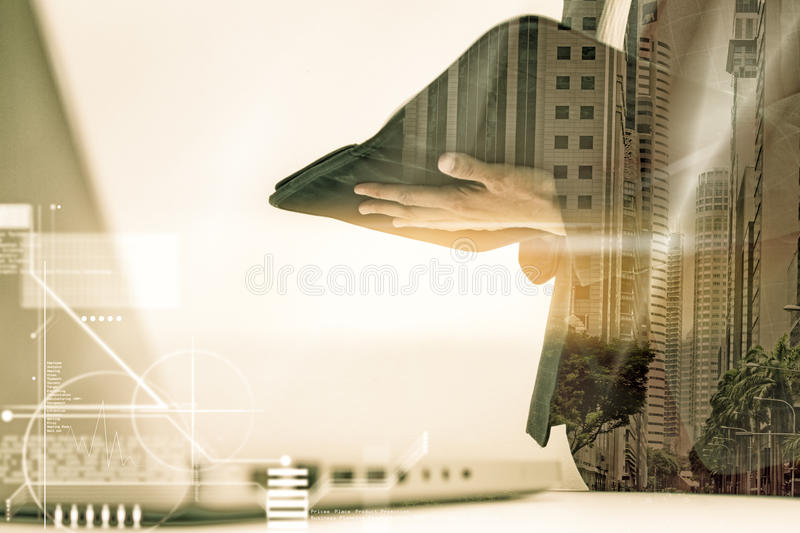 Modern business woman in the office with copy space,Business woman standing looking for outside the window after prepare document. S and graph business diagram royalty free stock images