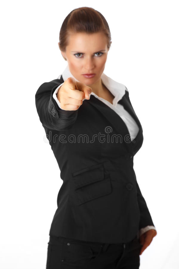 Modern business woman pointing finger at you stock photography