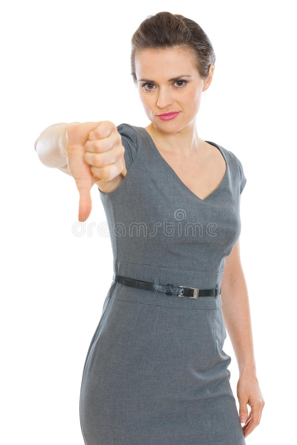 Download Modern Business Woman Showing Thumbs Down Stock Image - Image: 24081339