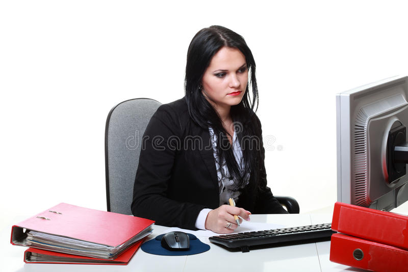 Download Modern Business Woman Sitting At Office Desk Stock Image - Image: 34092685