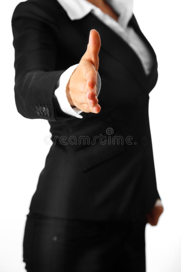 Download Modern Business Woman Stretches Out Hand For Hands Stock Photo - Image: 15402382