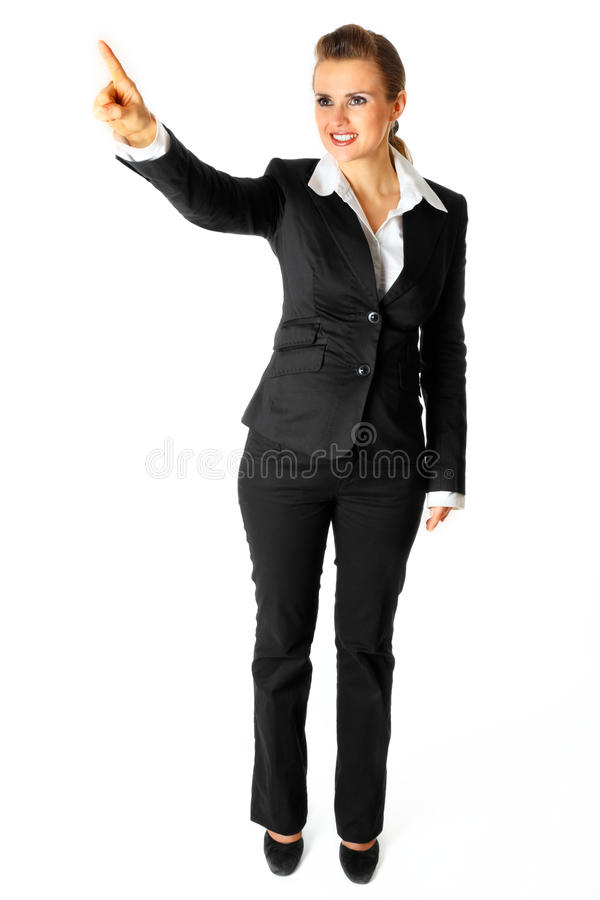 Modern Business Woman  Touching Abstract Screen Royalty Free Stock Images