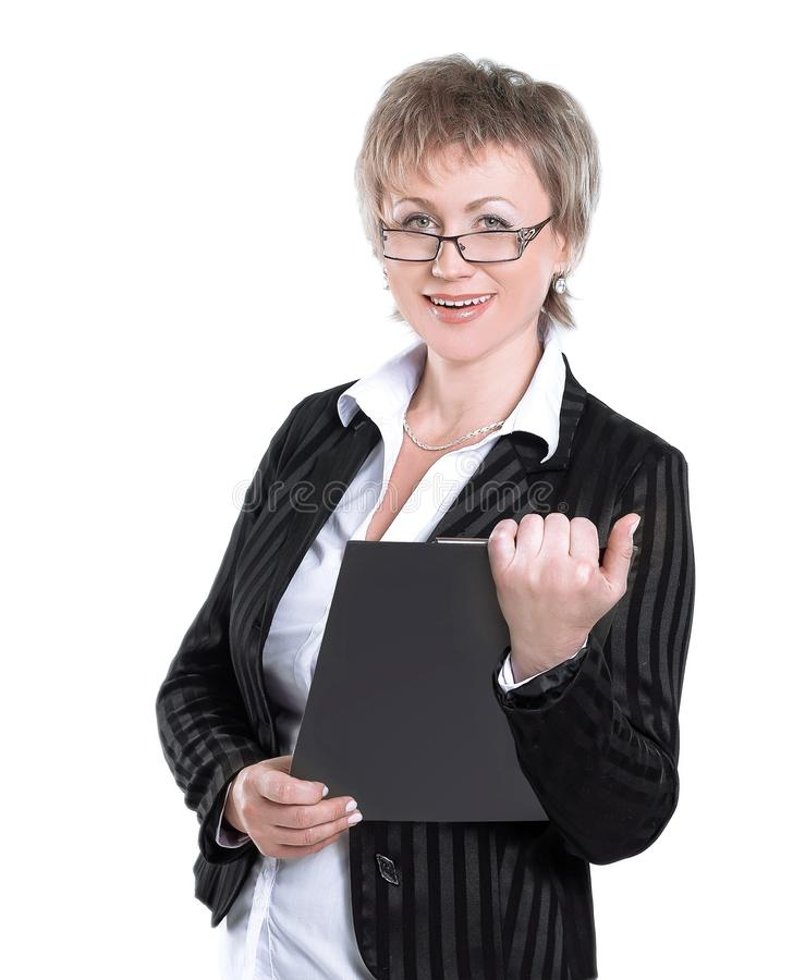 Modern business women with documents.isolated on white. stock photo