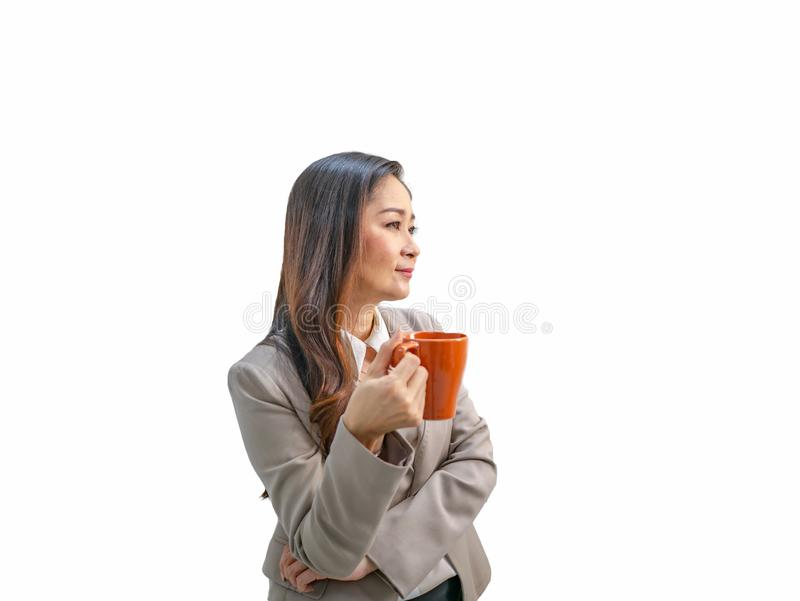 Modern business women hold her coffee cup or mug on isolated background royalty free stock photo