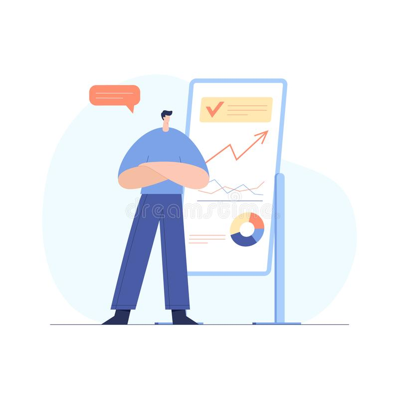 Modern businessman interacting with charts and analysing statistics. Cute male character demonstrating development strategy. Modern businessman interacting with royalty free illustration