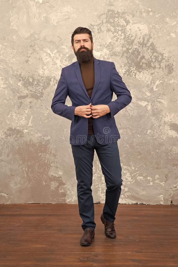 Modern businessman. Man handsome bearded businessman wear luxury formal suit. Menswear and fashion concept. Guy brutal stock images