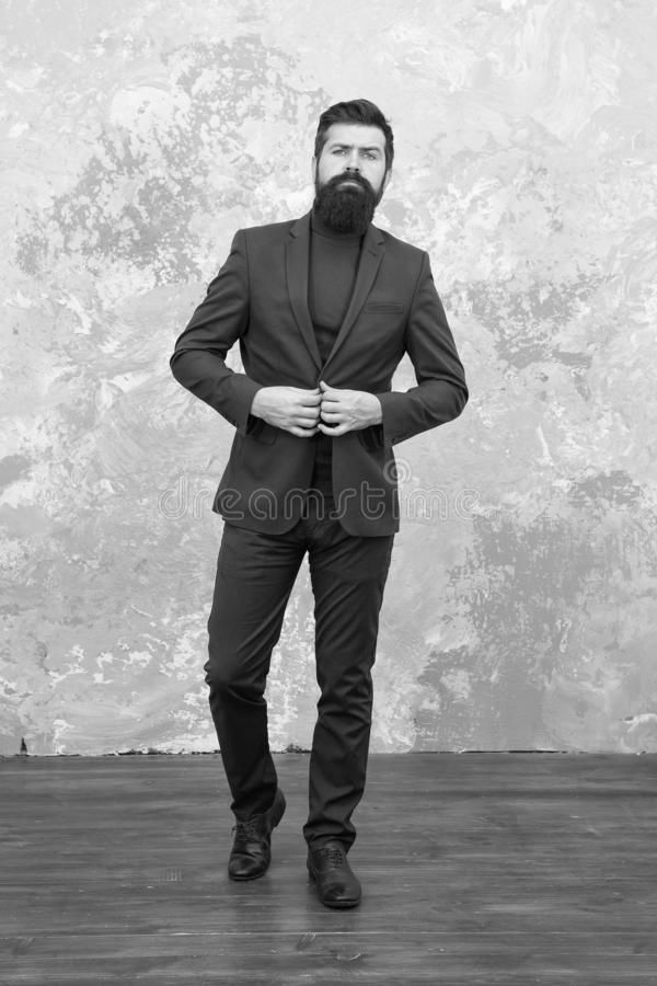 Modern businessman. Man handsome bearded businessman wear luxury formal suit. Menswear and fashion concept. Guy brutal. Fashion model. Business people fashion royalty free stock images