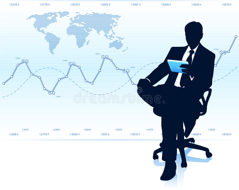 Modern businessman in office chair royalty free stock image
