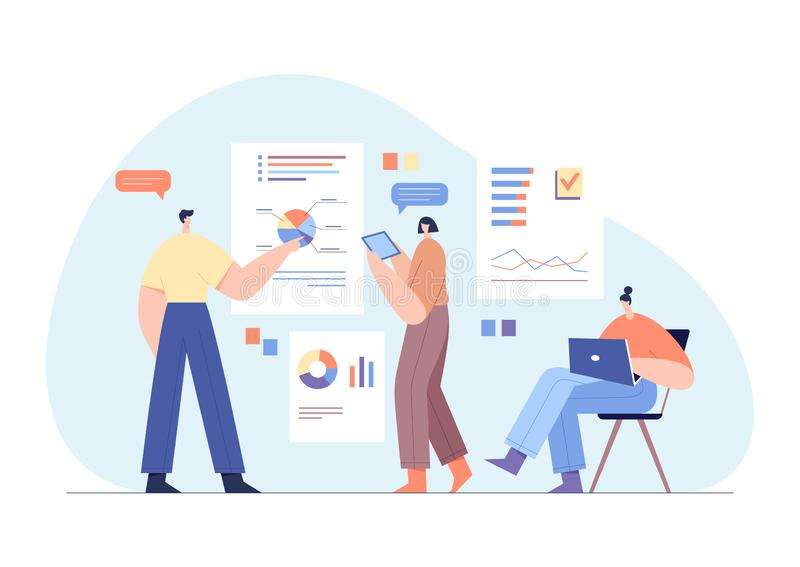 Modern businessmen characters interacting with charts and analysing statistics. Office work concept, team partnership. Flat vector. Modern businessmen characters stock illustration