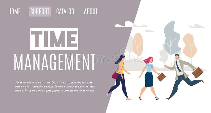 Daily Life Time Management Flat Vector Web Banner. Modern Businesspeople Life Time Management Online Service Flat Vector Web Banner, Landing Page Template with stock illustration