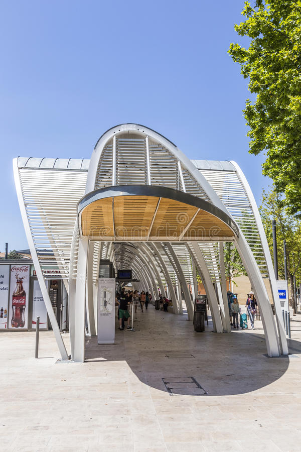 Modern busstation Gare Routiere in Aix en Provence royalty-vrije stock foto's