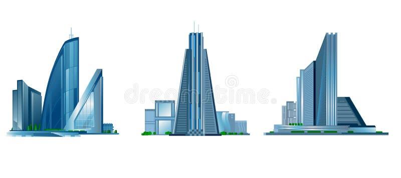 Modern byggnad tre vektor illustrationer