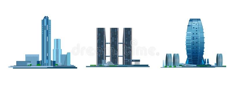 Modern byggnad tre royaltyfri illustrationer