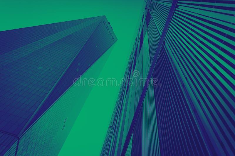 Modern byggnadsbakgrund New York City för blått och för gräsplan arkivfoto