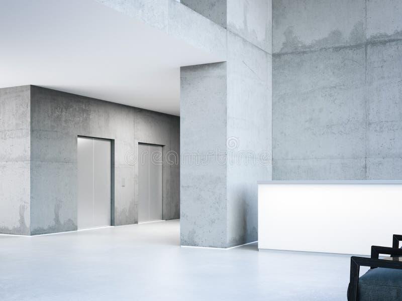 Modern byggnadskorridor med hissar framförande 3d royaltyfri illustrationer