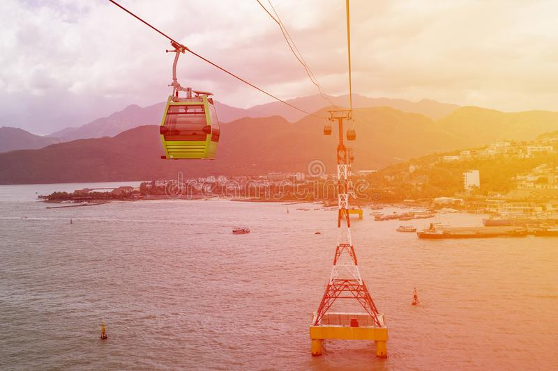 Modern cabins of the world`s longest cable car cableway. With a beautiful view of the sea and mountains stock images