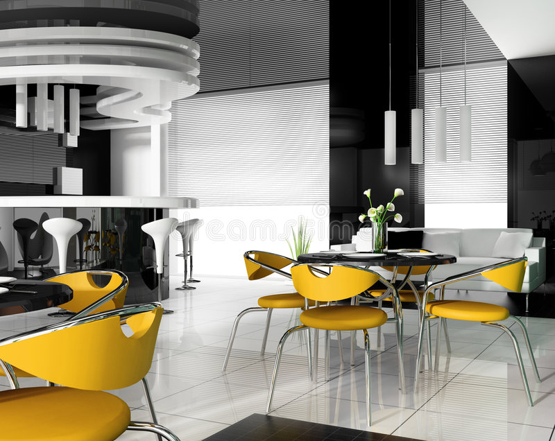 Modern cafe interior royalty free illustration