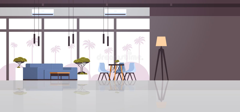 Modern cafe interior empty no people restaurant cafeteria lounge area design flat horizontal stock illustration