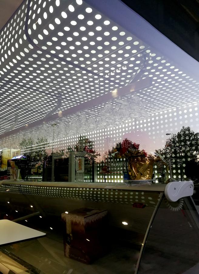 Modern Cafeteria-Bar in the early of the morning. Image concept, in Granada, Spain, 12.01.2018; 8:22 hrs, only editorial use royalty free stock photography