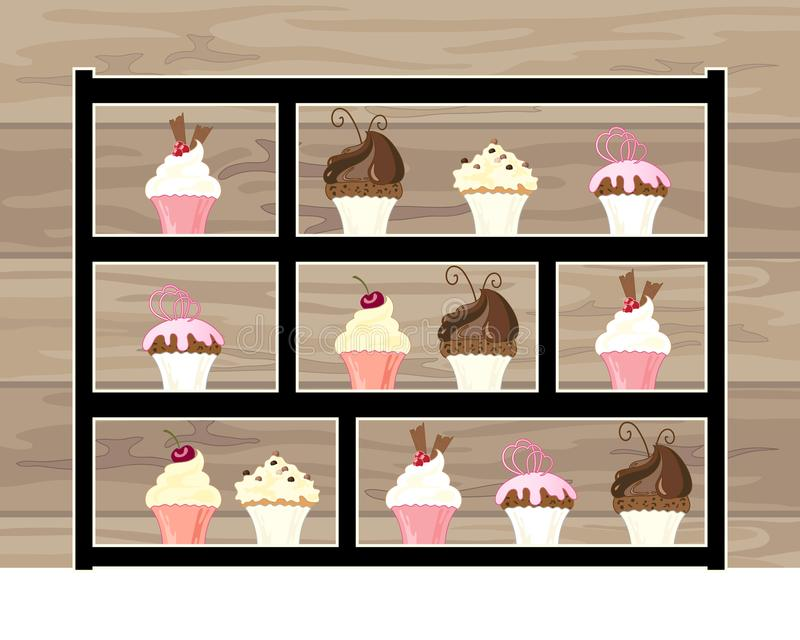 Modern cake display for afternoon tea with delicious cakes with a wooden background vector illustration