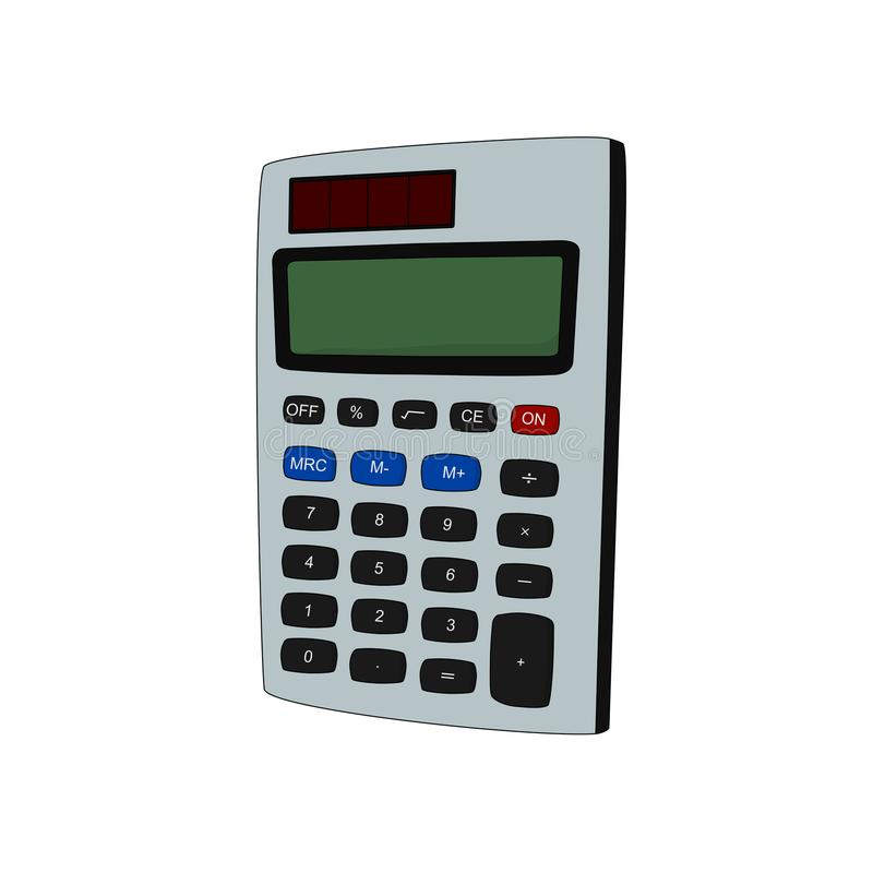 Modern calculator office tools. On white background stock illustration