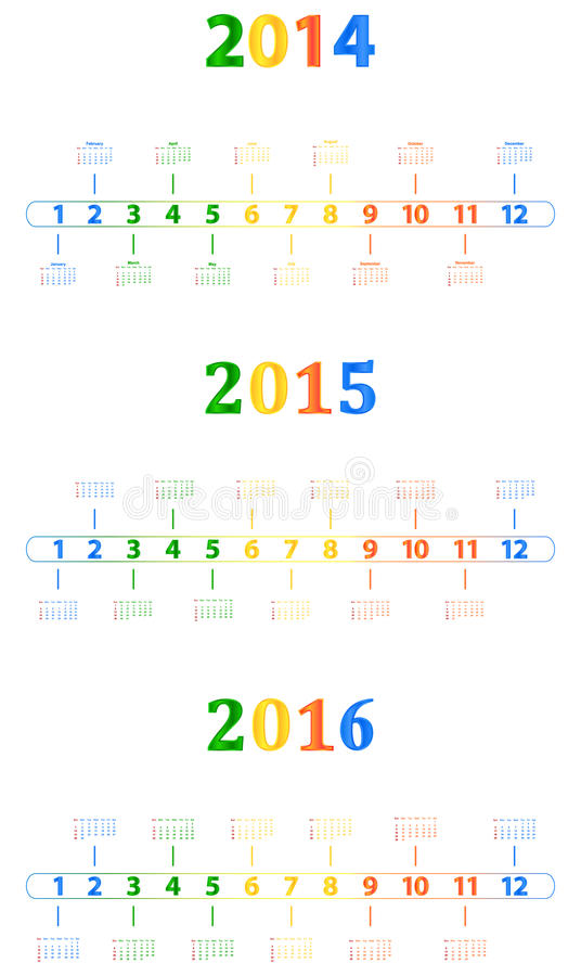 2014-2016 Modern Calendar royalty free stock photography