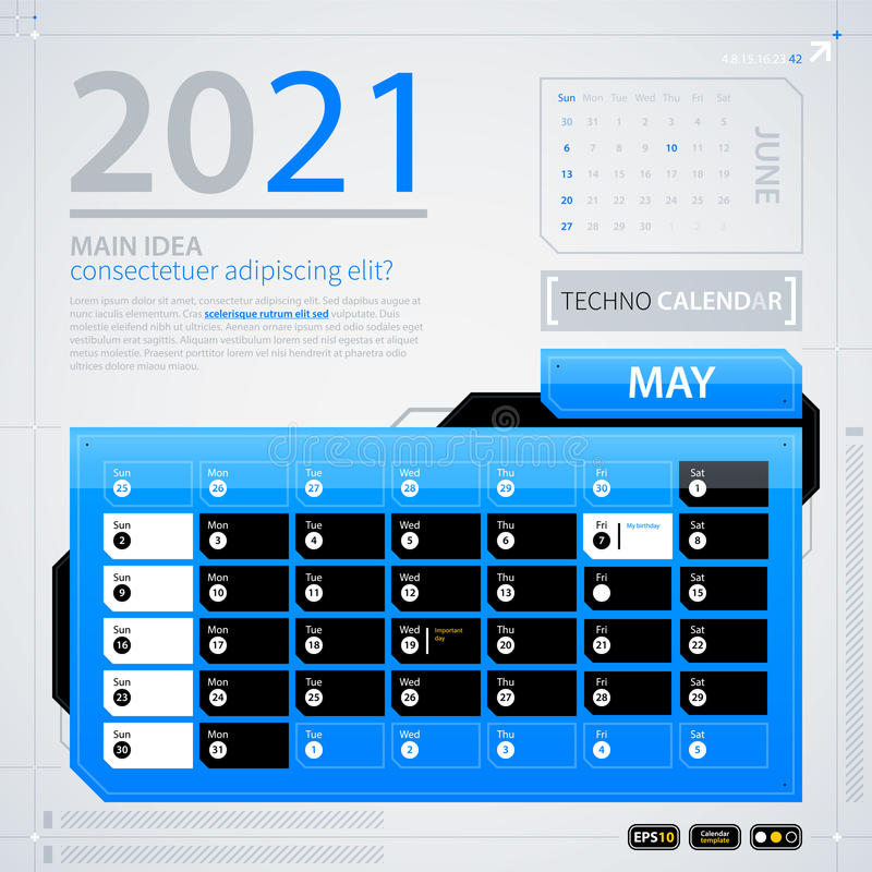 Modern Calendar Template Stock Vector Illustration Of Electronic