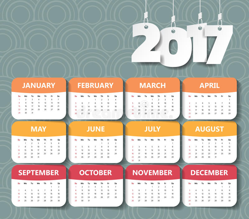 2017 Modern calendar template . Vector/illustration. vector illustration