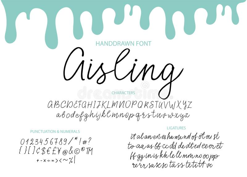 Modern calligraphic stilsort Borste målade bokstäver vektor illustrationer