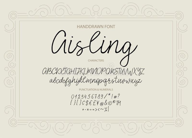 Modern calligraphic stilsort Borste målade bokstäver stock illustrationer
