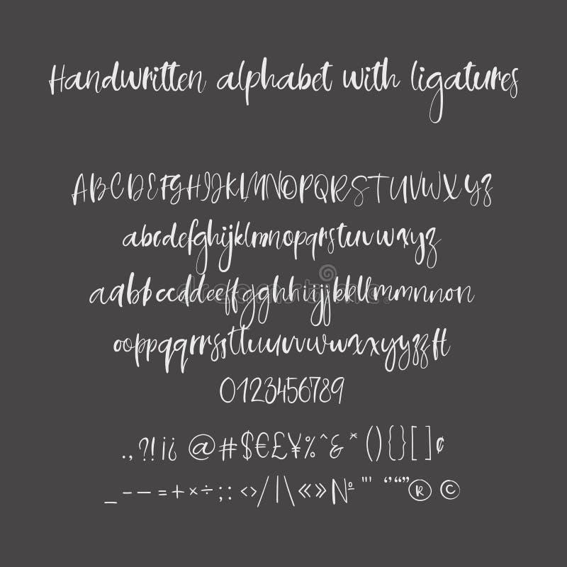 Download Decorative Hand Drawn Alphabet Handwritten Brush Font Modern Calligraphy ABC Stock Vector