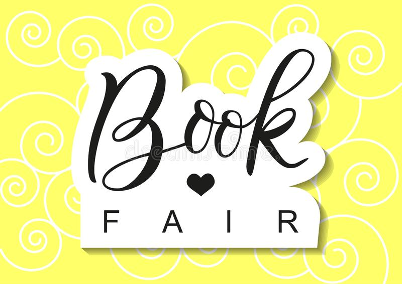 Modern calligraphy lettering of Book Fair in black with outline in paper cut style on yellow background with swirls stock illustration