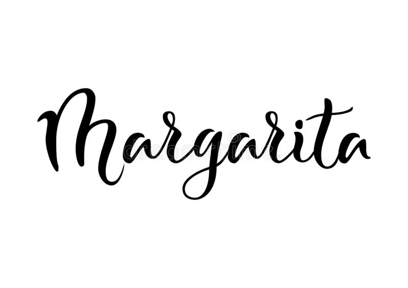 Modern calligraphy lettering of Margarita in black isolated on white background. For bar menu, cocktail menu, advertisement, cafe, restaurant, packaging, flyer vector illustration