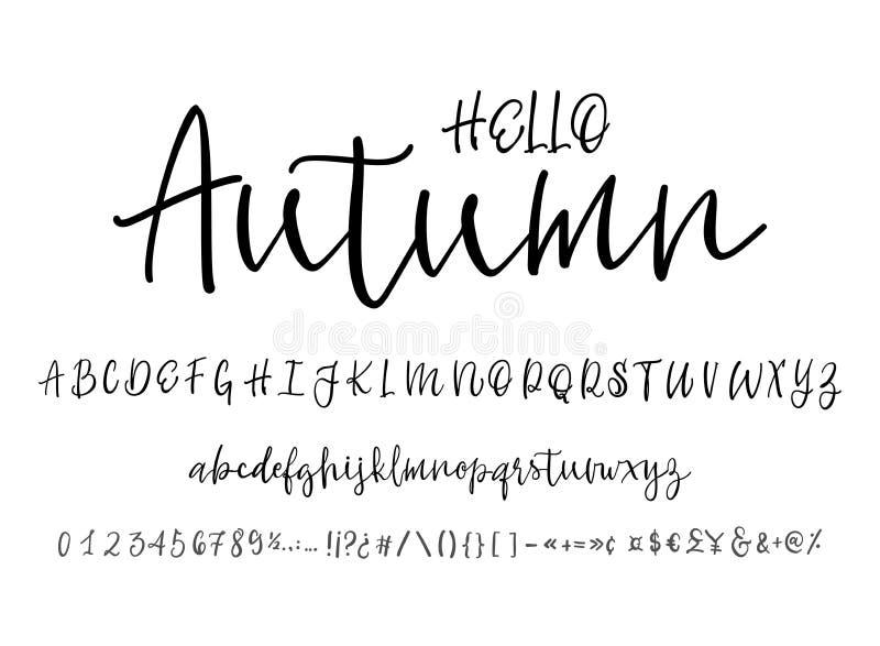 Modern Calligraphy Vintage Handwritten vector Font for Lettering.Trendy Retro Calligraphy Script. royalty free illustration