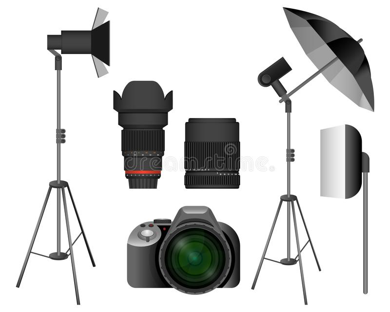 Modern camera with lenses and lighting equipment set. Basic tools for professional photo session in studio isolated cartoon flat vector illustrations.  sc 1 st  Dreamstime.com & Modern Camera With Lenses And Lighting Equipment Set Stock Vector ...