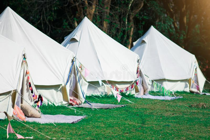Modern Camping For tourists with nature. Glamping and Alternative Lodging concept stock images