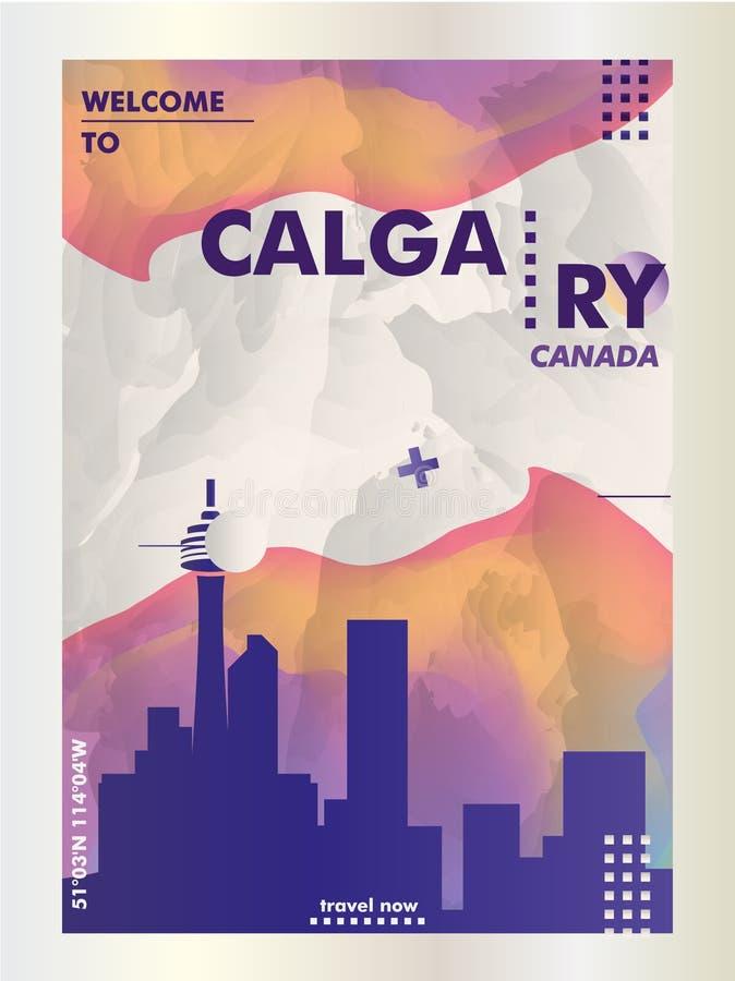 Canada Calgary skyline city gradient vector poster. Modern Canada Calgary skyline abstract gradient poster art. Travel guide cover city vector illustration stock illustration