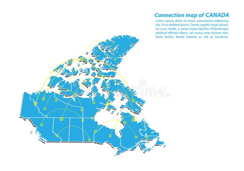 Modern of canada Map connections network design, Best Internet Concept of canada map business from concepts series. Map point and line composition. Infographic royalty free illustration