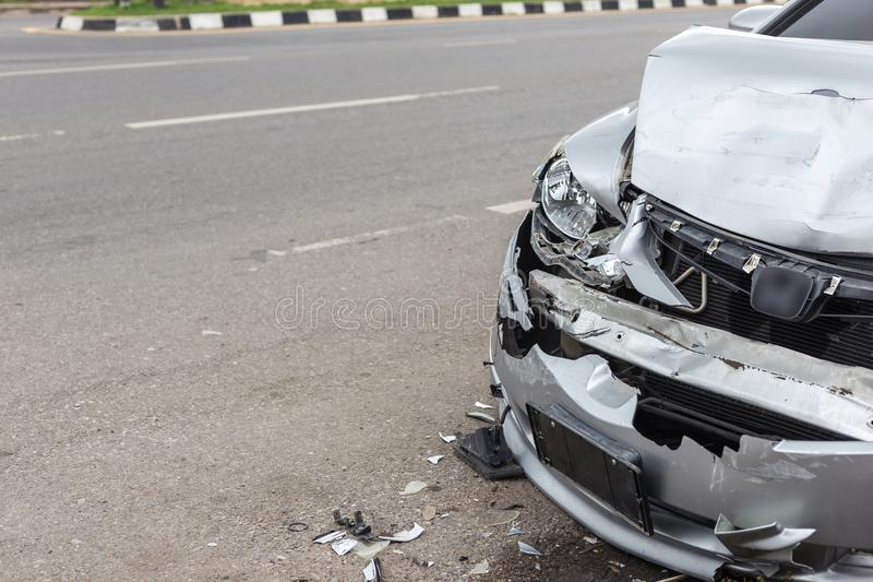 Modern car accident involving two cars on the road royalty free stock image
