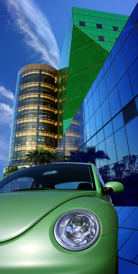 Modern car and architecture stock images