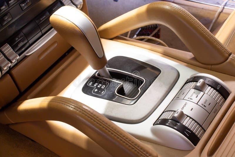 Modern car automatic gear lever. Closeup stock photography