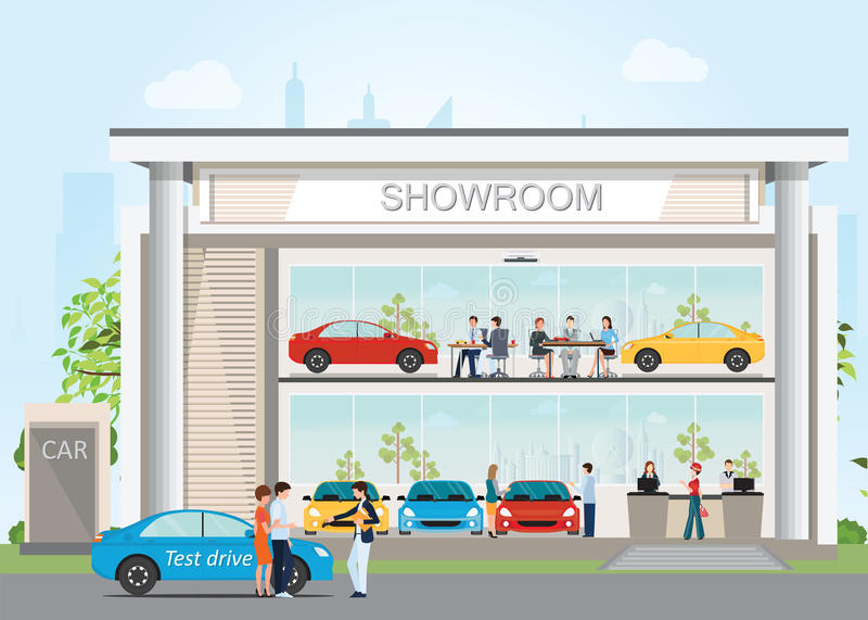 Modern car dealership showroom with reception customer service. Modern car dealership showroom with reception customer service, visitors buying new car and vector illustration