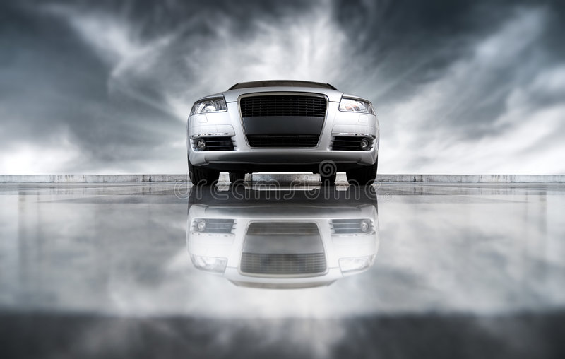 Modern car front view stock photography