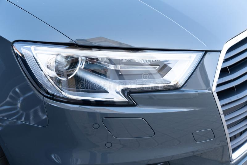 Modern car grey lamp headlight stock photography