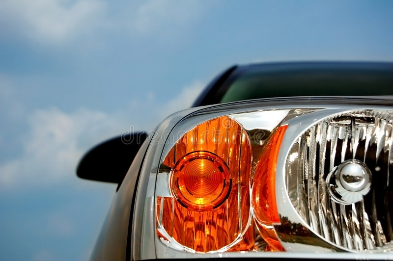 Modern Car Headlight stock photo