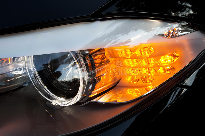 Download Modern car headlights stock image. Image of distance - 26024987