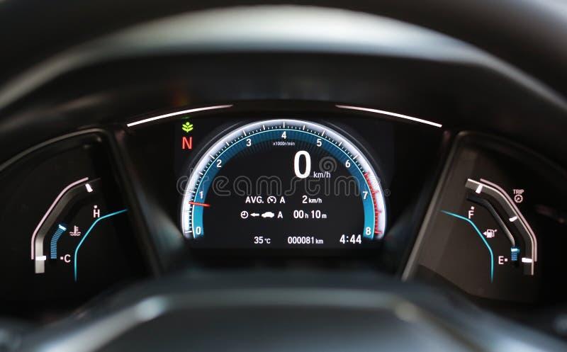 A Modern car illuminated dashboard royalty free stock photo